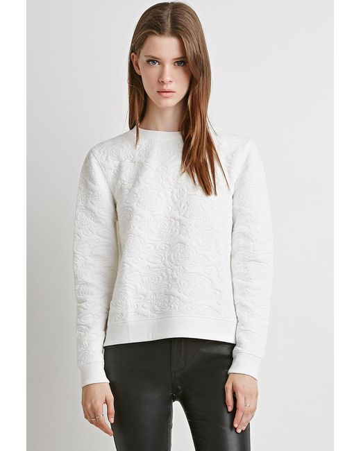 Forever 21 | Natural Textured Floral-pattern Sweater | Lyst
