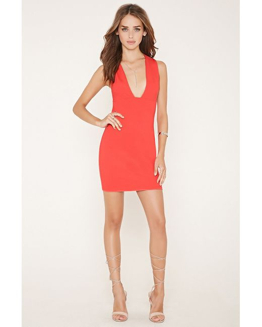 Forever 21 Plunging-neck Bodycon Mini Dress in Red (Coral ... - photo #15