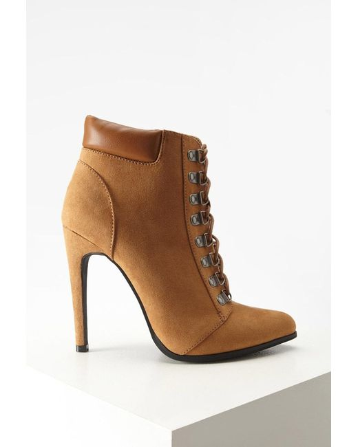 Forever 21   Brown Faux Suede Lace-up Booties   Lyst