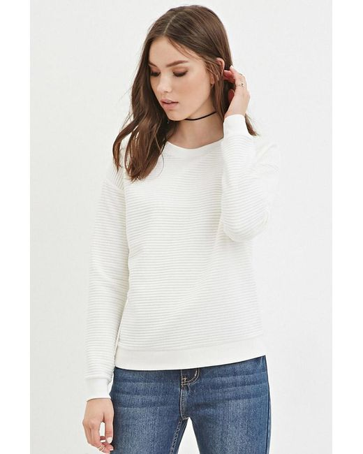 Forever 21 | Natural Quilted Ribbed Sweatshirt | Lyst