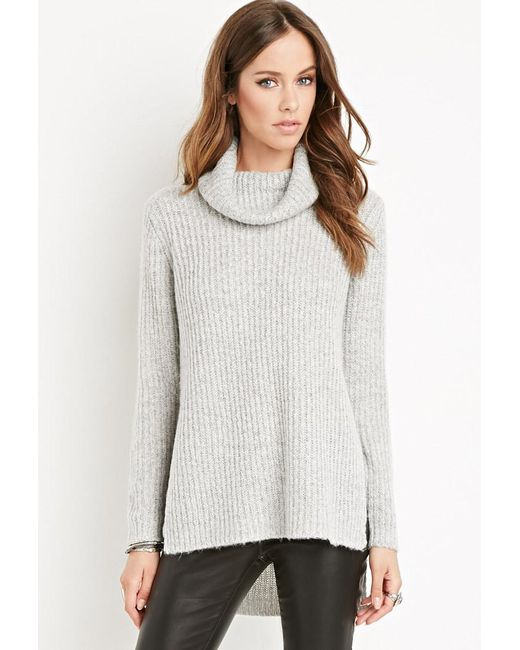 Forever 21 | Gray Ribbed Turtleneck Sweater | Lyst