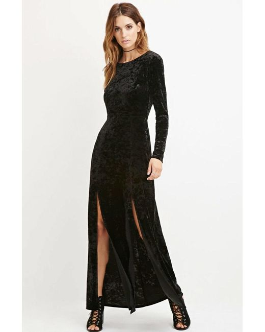 Forever 21 | Black Contemporary Crushed Velvet Maxi Dress | Lyst
