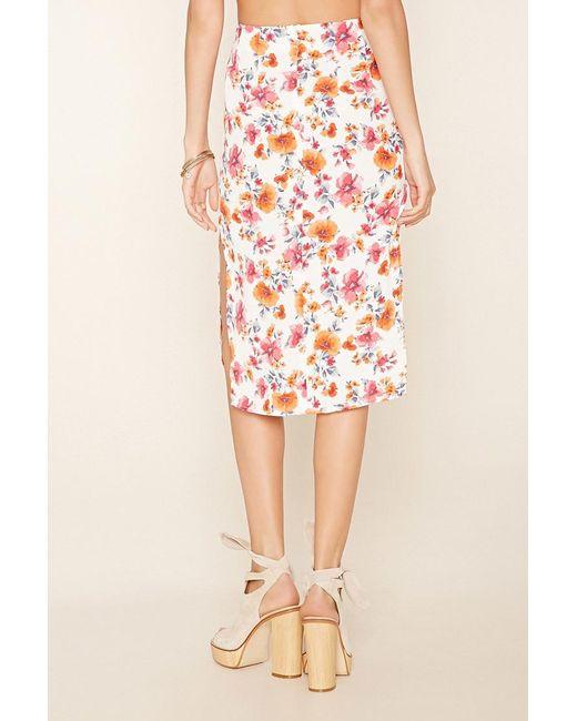 forever 21 side slit floral print skirt lyst