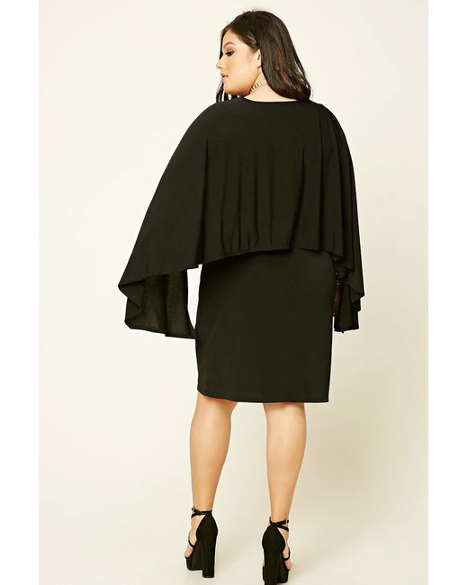 Forever 21 Sleeve Dress: Forever 21 Plus Size Cape-sleeve Dress In Black