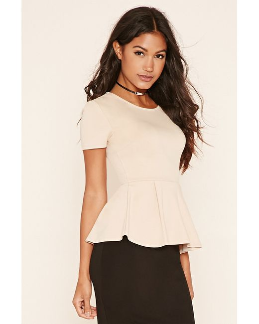 Forever 21 | Natural Pleated Peplum Top | Lyst
