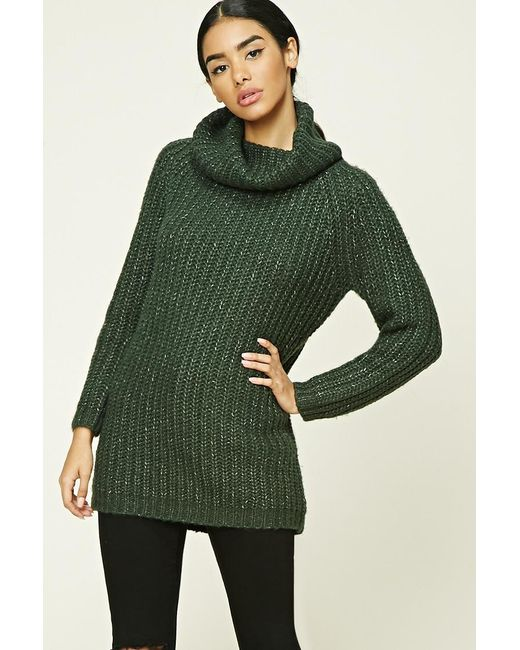Forever 21   Green Marled Knit Cowl-neck Jumper   Lyst