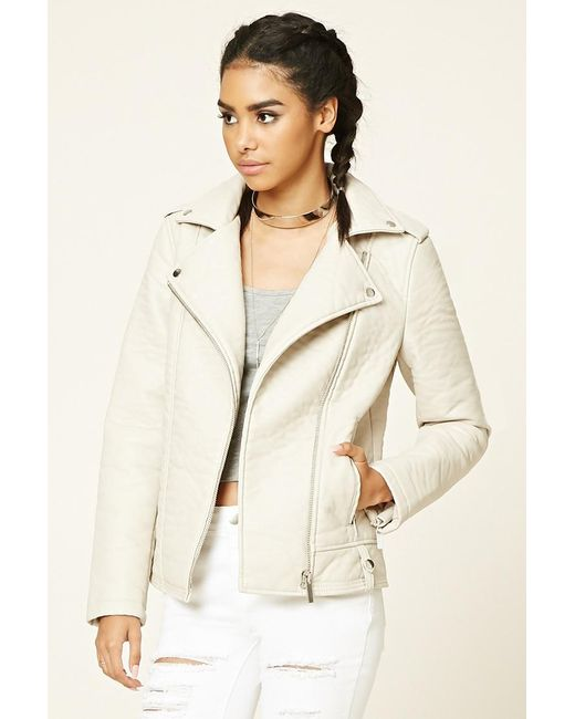 Forever 21 | Natural Faux Leather Moto Jacket | Lyst