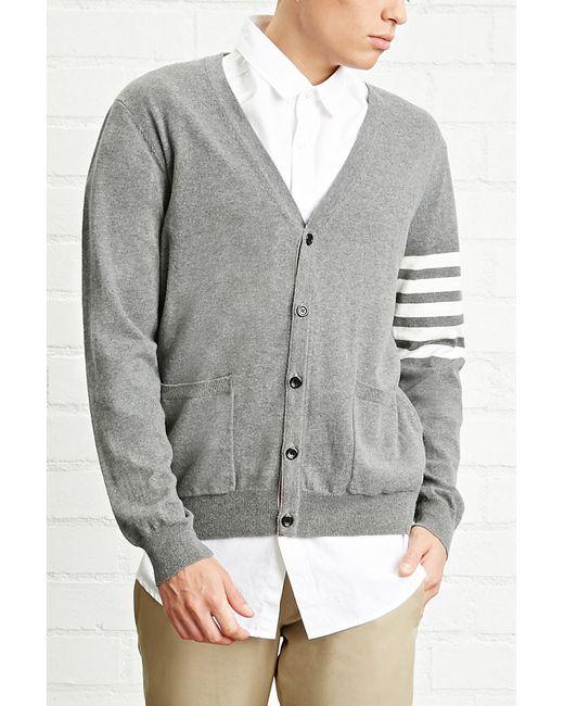 Forever 21 | Gray Stripe-sleeve Cardigan for Men | Lyst