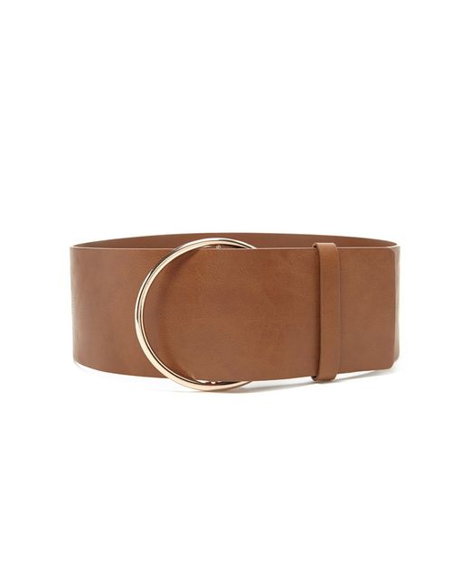 forever 21 wide faux leather belt in brown lyst