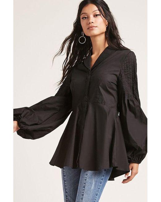 Forever 21 | Black Pintucked Peplum Shirt | Lyst