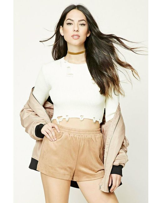 Forever 21 | Natural Faux Suede Shorts | Lyst