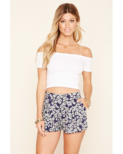 Forever 21 | Blue Tie-waist Floral Print Shorts | Lyst
