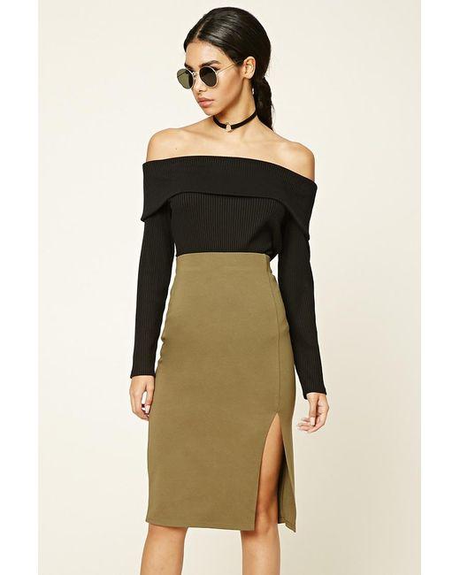 Forever 21 | Natural Off-center Slit Pencil Skirt | Lyst