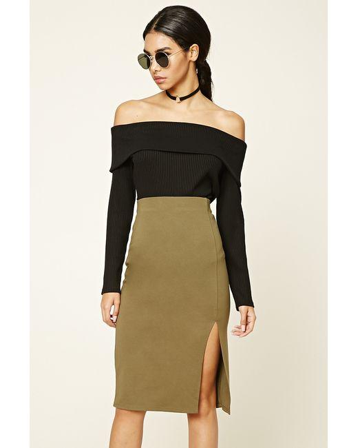 Forever 21 | Green Off-center Slit Pencil Skirt | Lyst