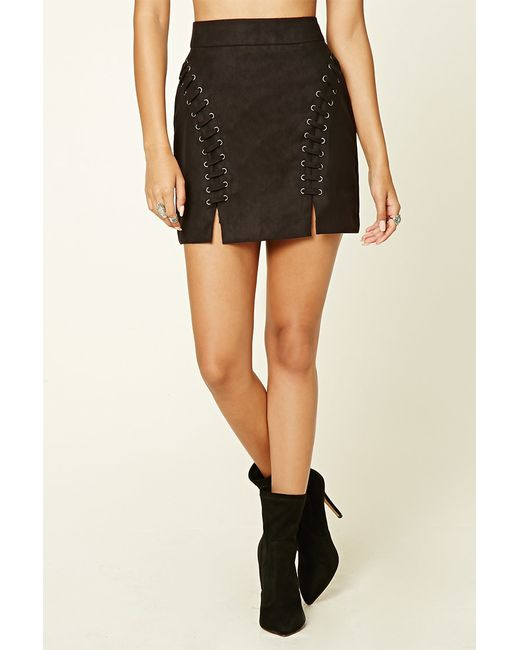 Forever 21 Faux Suede Mini Skirt in Black | Lyst