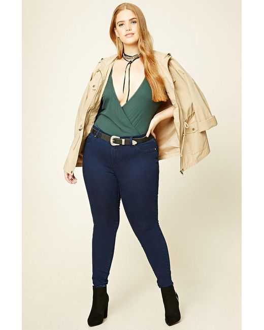 Forever 21 | Blue Plus Size Mid-rise Jeans | Lyst