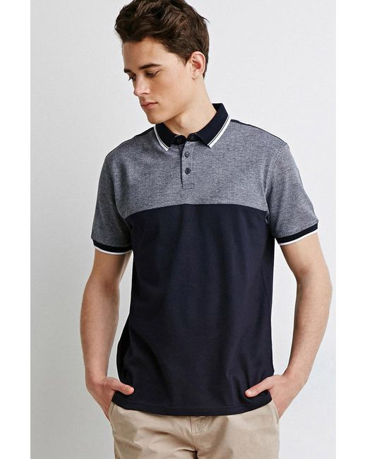 Forever 21   Blue Colorblocked Piqué Polo for Men   Lyst