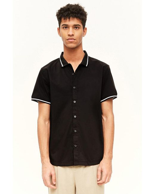 7a5617735d Forever 21 - Black Striped Contrast Button-front Shirt for Men - Lyst ...