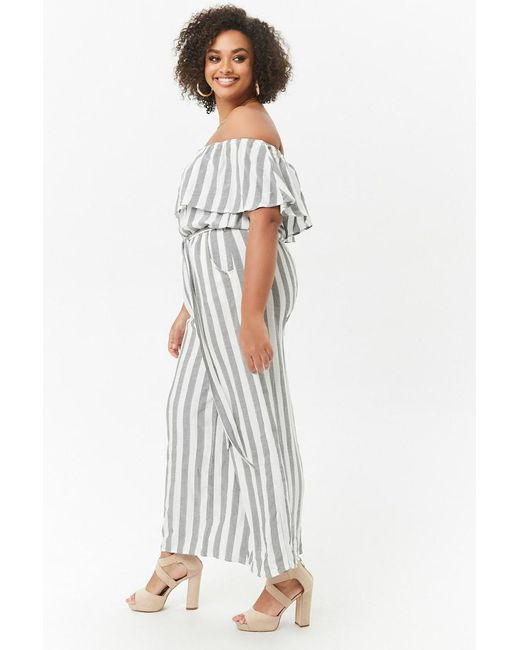 Forever 21 Womens Plus Size Striped Off The Shoulder Palazzo