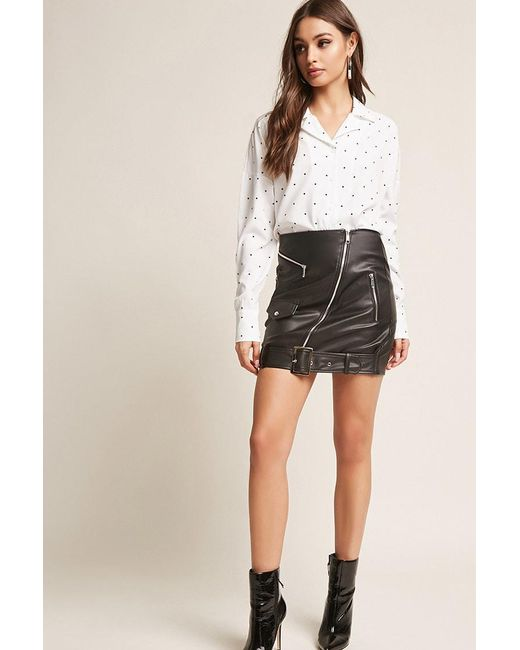 12d000729fee Forever 21 - Black Faux Leather Mini Skirt - Lyst ...