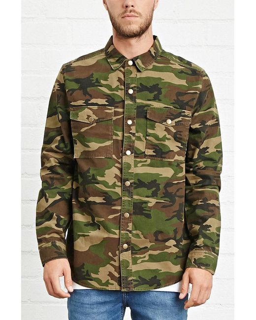 Forever 21 - Green Camo Print Button-front Jacket for Men - Lyst