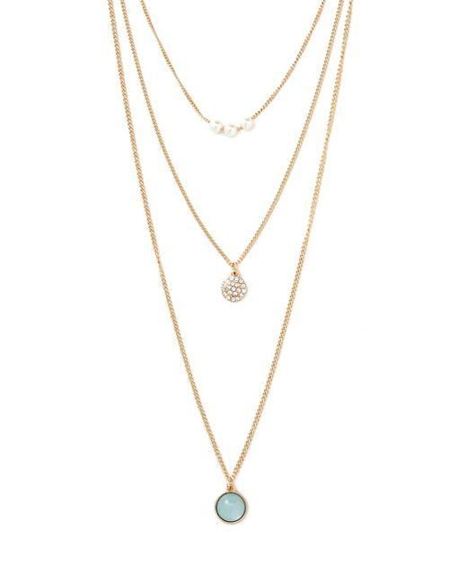 Forever 21 - Metallic Rhinestone Necklace Set - Lyst