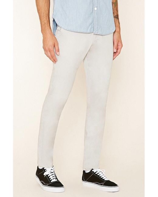 Forever 21 - Gray Slim Fit Cotton-blend Trousers for Men - Lyst