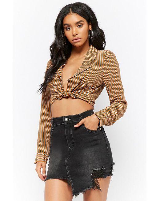 FOREVER21 - Black Distressed Asymmetrical Denim Mini Skirt - Lyst