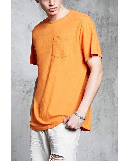Forever 21 | Orange Slub Knit Pocket Tee for Men | Lyst