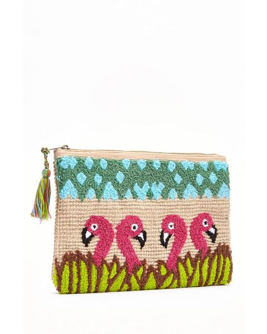Forever 21 - Multicolor Embroidered Flamingo Clutch - Lyst