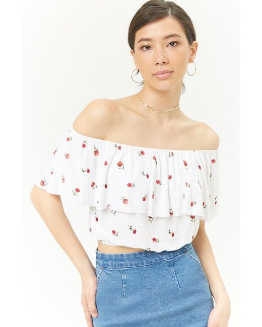 bb0c5eeeea Forever 21 - White Floral Print Flounce Top - Lyst ...