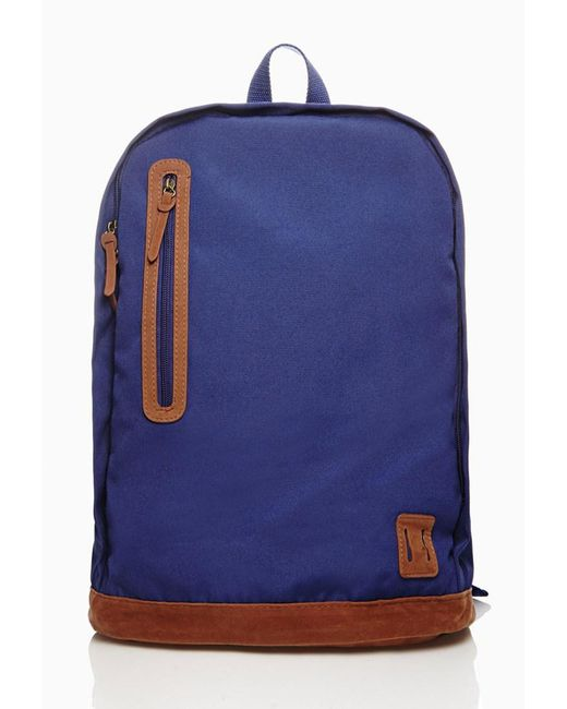Forever 21 | Blue Faux Suede-paneled Backpack for Men | Lyst