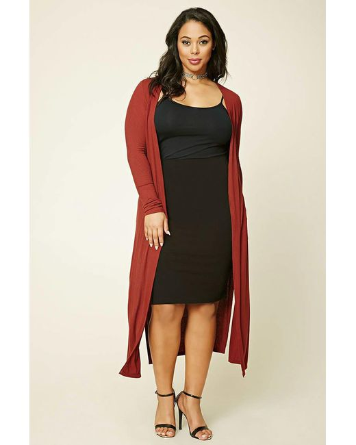 Forever 21 | Red Plus Size Longline Knit Cardigan | Lyst