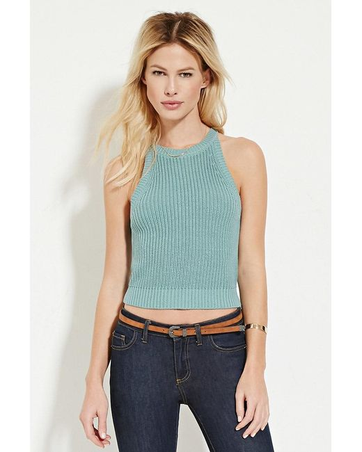 Forever 21 Knit Top In Green Lyst