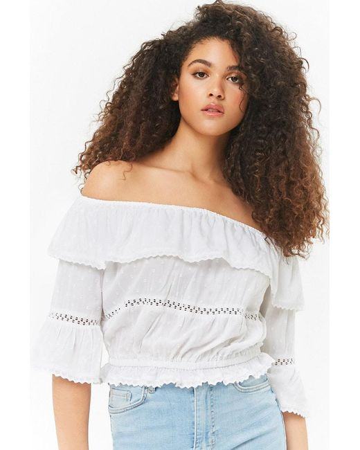 Forever 21 - White Embellished Flounce Top - Lyst