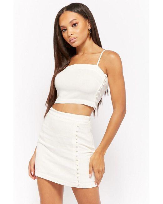 Forever 21 - White Linen-blend Button-loop Skirt - Lyst