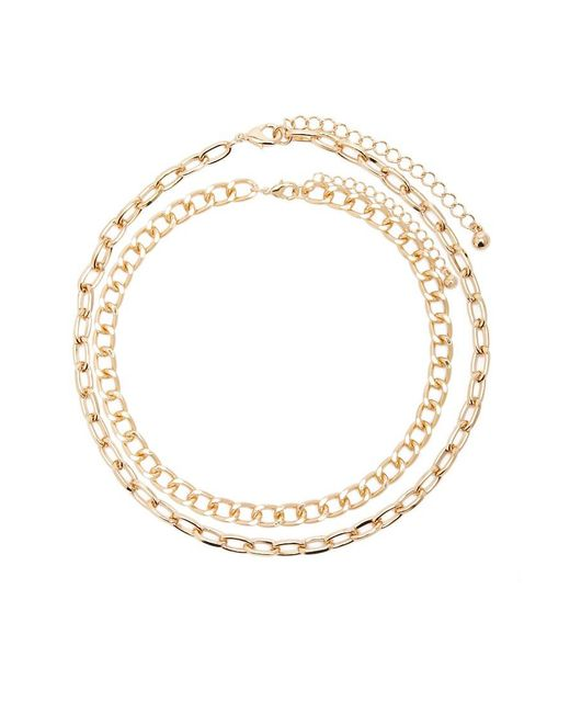 Forever 21 - Metallic Chunky Cable & Curb Chain Necklace Set - Lyst