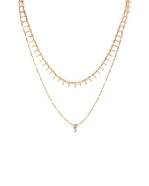 Forever 21 Metallic Etched Layered Necklace , Gold