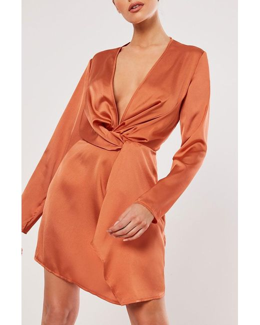 Missguided - Orange Twist-front Satin Dress At - Lyst