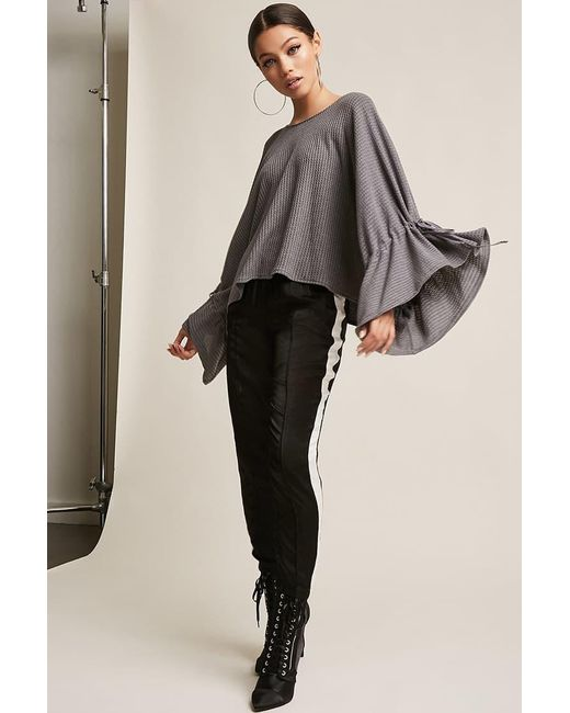 Forever 21 - Gray Waffle-knit Bell-sleeve Top - Lyst