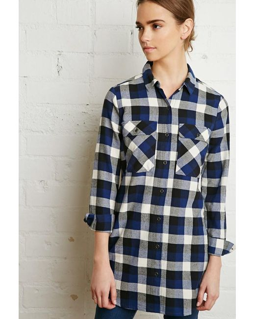 Forever 21 - Blue Buffalo Plaid Shirt Dress - Lyst