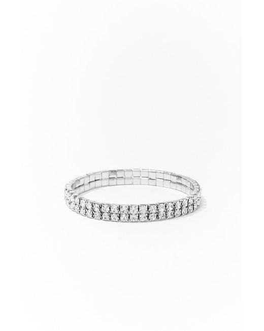 Forever 21 Metallic Rhinestone Chain Bracelet , Silver/clear