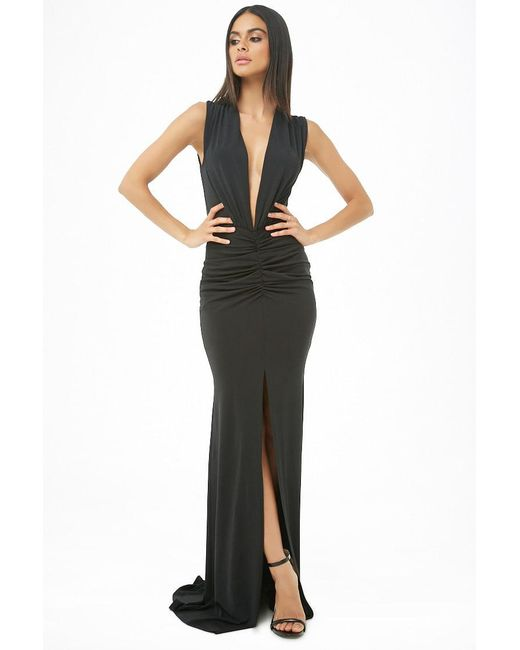 Forever 21 - Black Ruched Plunging Maxi Dress - Lyst