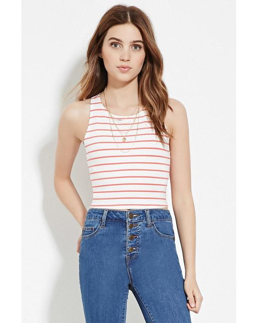 Forever 21 - Red Stripe Crop Top - Lyst