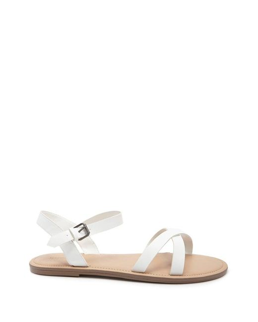 c396606c6b9 Forever 21 Women s Faux Leather Crisscross Strap Sandals in White ...