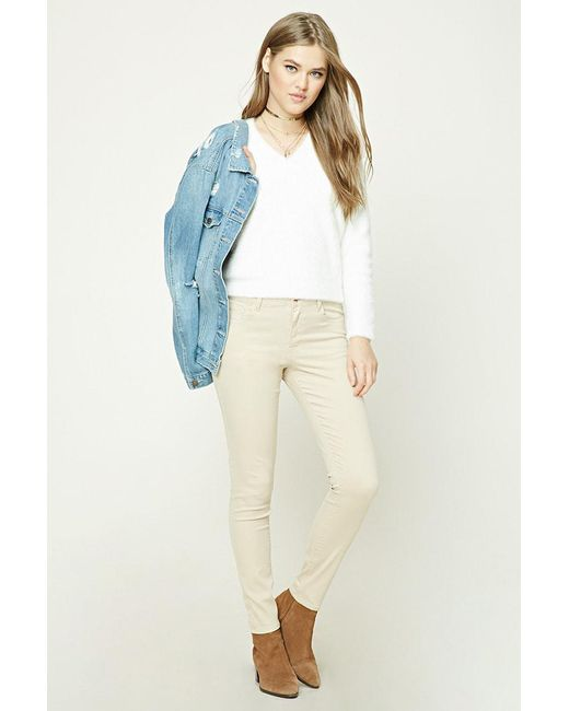 FOREVER21 - Natural Skinny Mid-rise Pants - Lyst