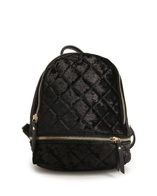 Forever 21 - Black Velvet Quilt Mini Backpack - Lyst