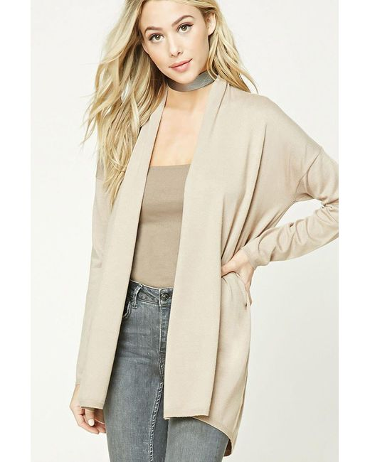 Forever 21 | Natural Open-front Cardigan | Lyst