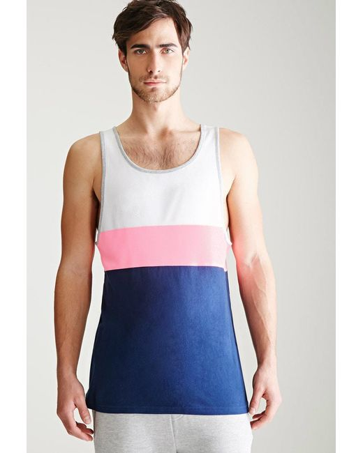 Forever 21 | White Colorblocked Piqué Tank Top for Men | Lyst