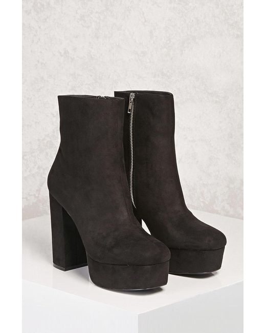 4531cd7b51bc Forever 21 - Black Faux Suede Platform Ankle Boots - Lyst ...
